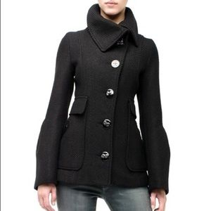 Mackage Ava Coat in Black Wool and Leather